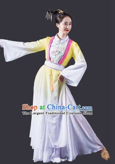 Chinese Traditional Classical Dance Costume Flying Dance Umbrella Dance Yellow Dress for Women
