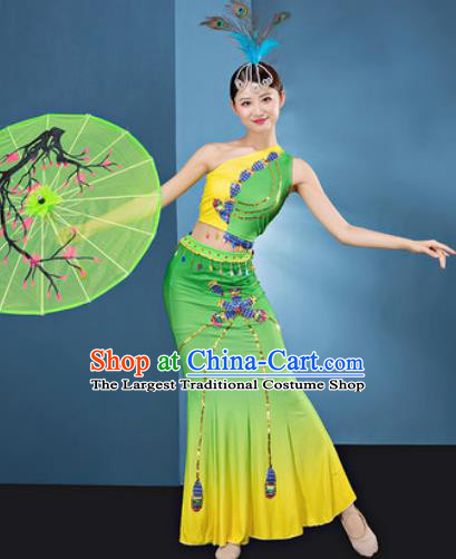 Traditional Chinese Dai Nationality Folk Dance Light Green Dress National Ethnic Peacock Dance Costume for Women