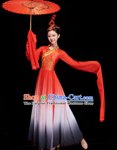 Chinese Traditional Umbrella Dance Water Sleeve Red Dress Classical Dance Stage Performance Costume for Women