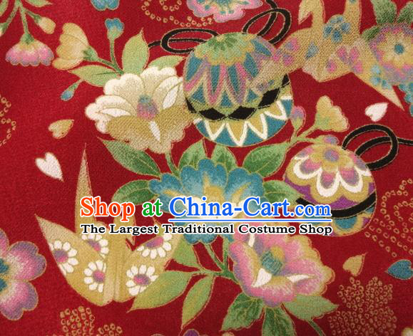 Asian Traditional Classical Bell Flowers Pattern Red Tapestry Satin Nishijin Brocade Fabric Japanese Kimono Silk Material