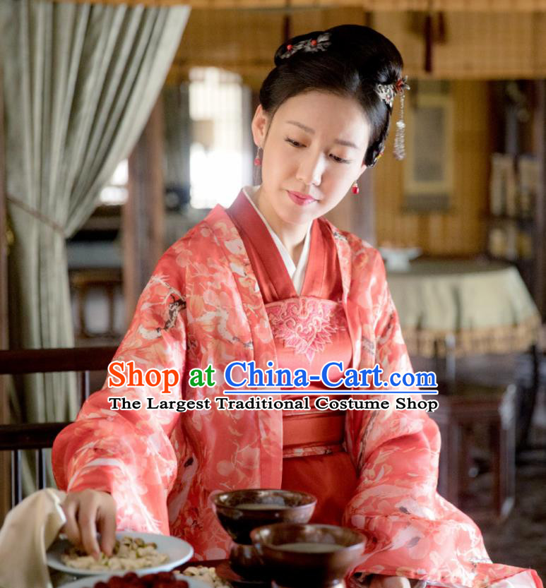 The Story Of MingLan Chinese Ancient Nobility Concubine Hanfu Dress Song Dynasty Embroidered Costume for Rich Women