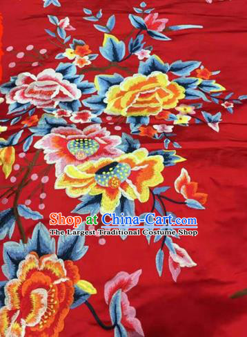 Asian Traditional Fabric Classical Peony Pattern Red Watered Gauze Brocade Chinese Satin Silk Material