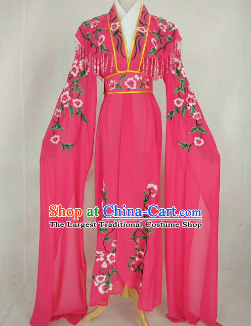 Chinese Traditional Beijing Opera Peri Princess Rosy Embroidered Dress Ancient Nobility Lady Costume for Women