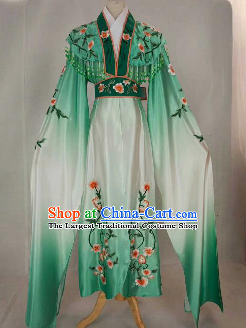 Chinese Traditional Beijing Opera Peri Princess Green Embroidered Dress Ancient Nobility Lady Costume for Women