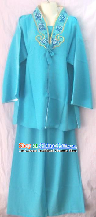 Chinese Traditional Beijing Opera Court Maid Blue Dress Ancient Young Lady Embroidered Costume for Women