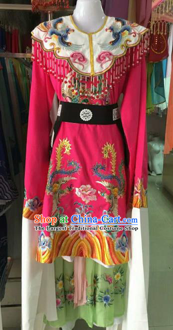 Chinese Traditional Beijing Opera Imperial Concubine Embroidered Rosy Dress Ancient Palace Lady Costume for Women