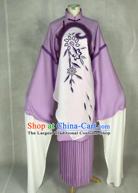 Traditional Chinese Peking Opera Court Maid Embroidered Purple Dress Ancient Maidservants Costume for Women