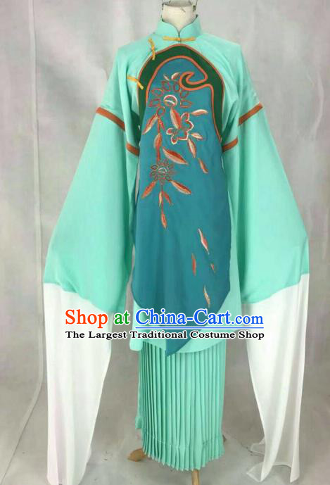 Traditional Chinese Peking Opera Court Maid Embroidered Green Dress Ancient Maidservants Costume for Women