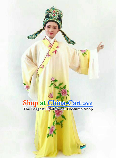 Chinese Traditional Beijing Opera Niche Yellow Robe Ancient Nobility Childe Embroidered Costume for Men