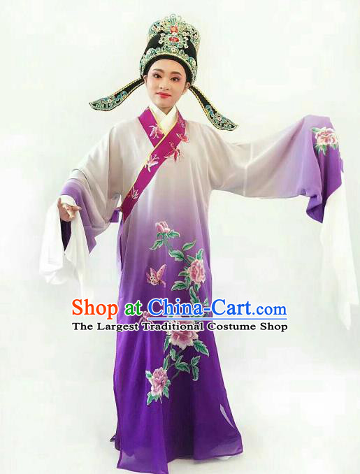 Chinese Traditional Beijing Opera Niche Purple Robe Ancient Nobility Childe Embroidered Costume for Men