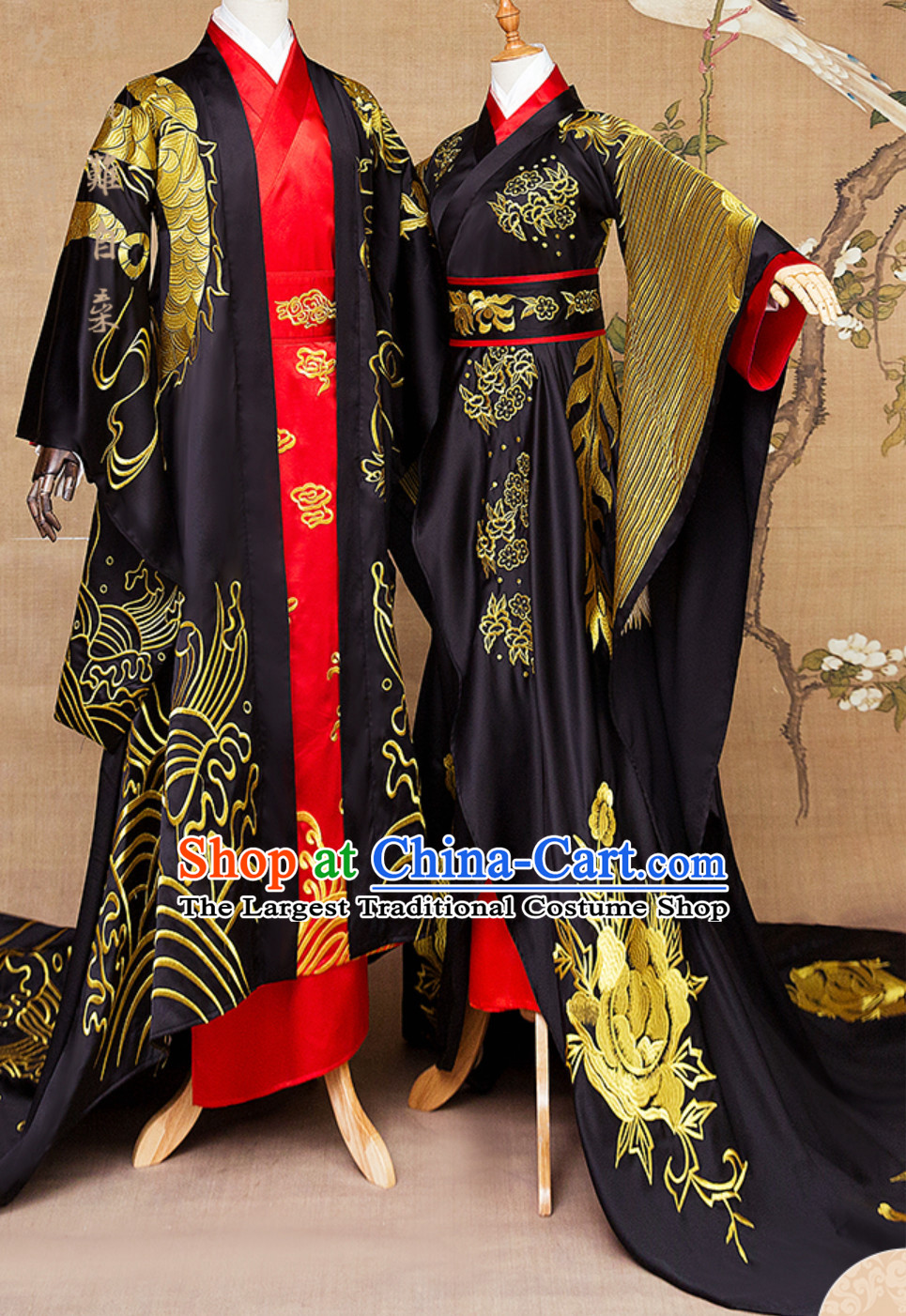Ancient Chinese Emperor Embroidered Dragon and Empress Embroidered Phoenix Royal Clothing 2 Complete Sets