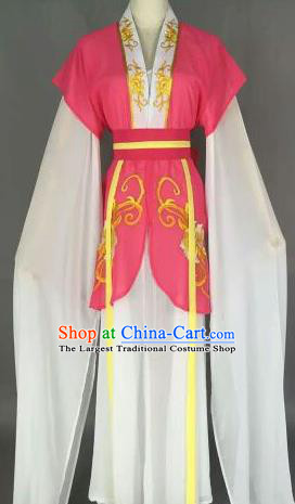 Chinese Ancient Maidservants Embroidered Rosy Dress Traditional Peking Opera Court Maid Costume for Women