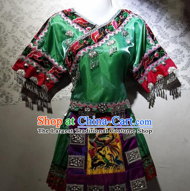 Chinese Traditional Hmong Ethnic Folk Dance Costume China Miao Nationality Embroidered Green Dress for Women