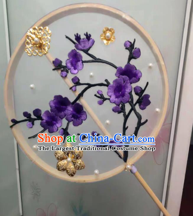 Chinese Traditional Palace Fans Ancient Princess Hanfu Embroidered Plum Blossom Round Fans for Women