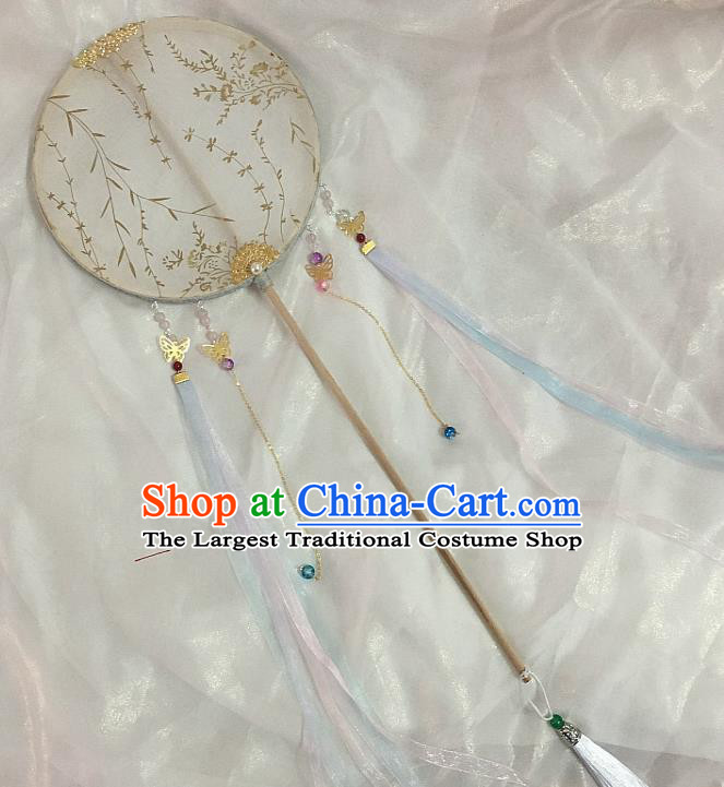 Chinese Traditional Palace Fans Ancient Princess Hanfu Silk Round Fans for Women