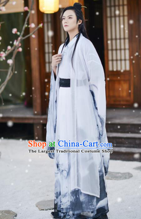 Traditional Chinese Ancient Nobility Childe Hanfu Clothing Jin Dynasty Swordsmen Historical Costume for Men