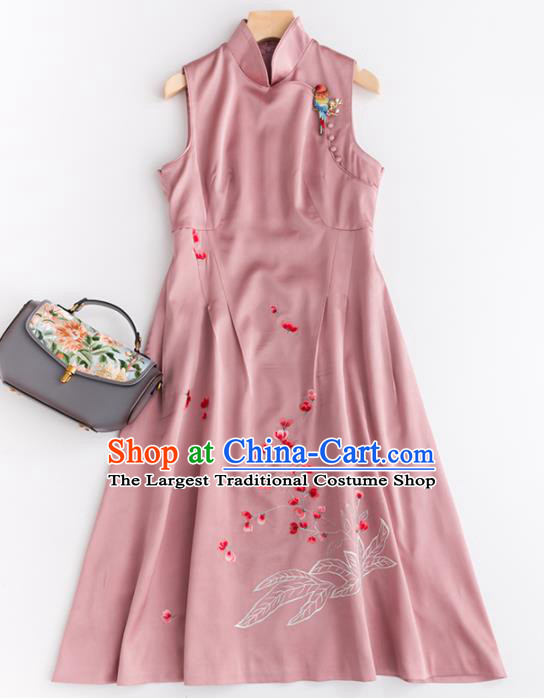 Chinese Traditional National Costume Tang Suit Pink Silk Cheongsam Embroidered Qipao Dress for Women