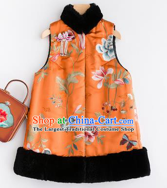 Traditional Chinese National Costume Tang Suit Orange Cotton Padded Waistcoat for Women