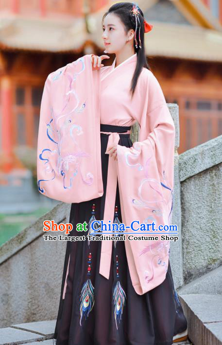 Chinese Ancient Princess Traditional Pink Hanfu Dress Jin Dynasty Court Historical Costume for Women