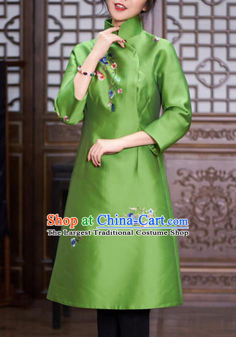 Chinese Traditional National Winter Costume Tang Suit Cheongsam Green Silk Qipao Dress for Women