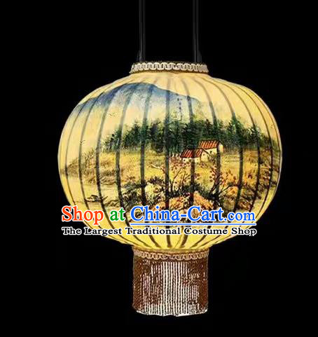 Chinese Traditional Ink Painting Landscape Round Lantern Handmade New Year Palace Lanterns