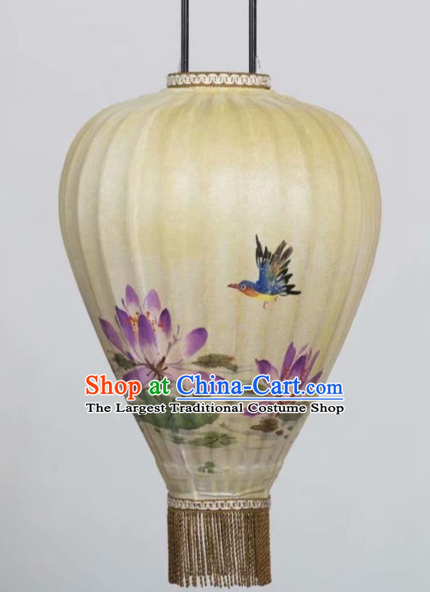 Chinese Traditional Ink Painting Lotus Hanging Lantern Handmade New Year Palace Lanterns