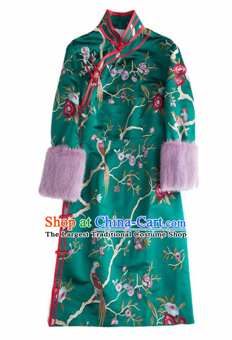 Chinese Traditional Costume National Cheongsam Ancient Qing Dynasty Green Silk Qipao Dress for Women