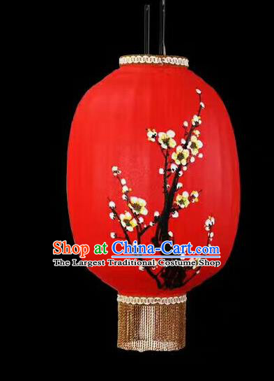 Chinese Traditional Ink Painting Plum Blossom Lantern Handmade New Year Red Palace Lanterns