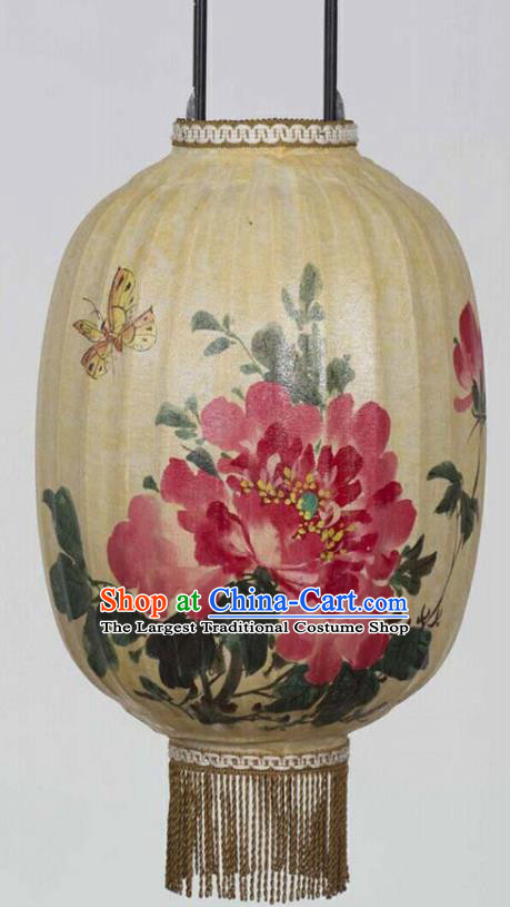 Chinese Traditional Ink Painting Red Peony Lantern Handmade New Year Palace Lanterns