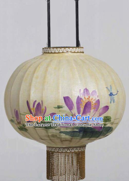 Chinese Traditional Ink Painting Purple Lotus Round Lantern Handmade New Year Palace Lanterns