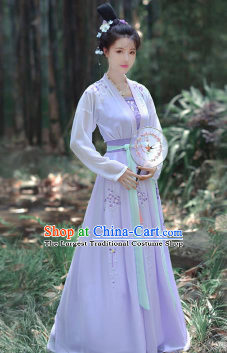 Chinese Ancient Imperial Concubine Embroidered Traditional Hanfu Dress Tang Dynasty Palace Historical Costume for Women