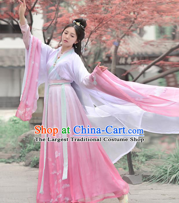 Chinese Ancient Embroidered Traditional Dress Jin Dynasty Palace Princess Historical Costume for Women