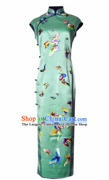 Chinese Traditional Costume National Cheongsam Embroidered Butterfly Green Silk Qipao Dress for Women