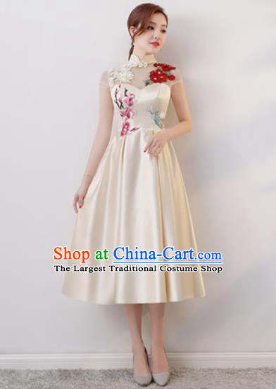 Chinese Traditional National Costume Classical Cheongsam Embroidered White Satin Qipao Dress for Women
