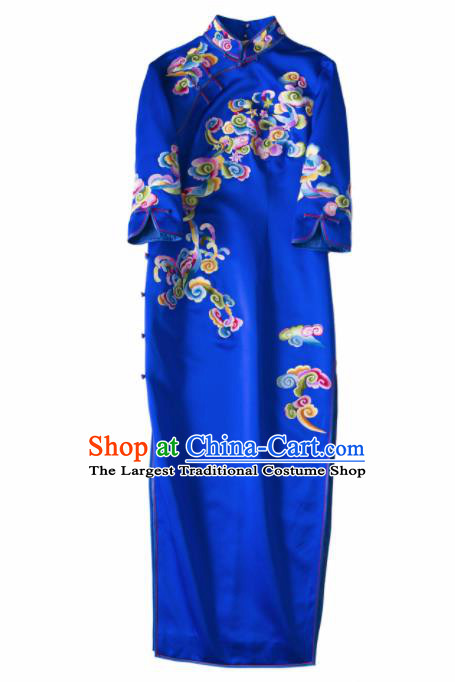 Chinese Traditional Costume National Cheongsam Embroidered Royalblue Silk Qipao Dress for Women