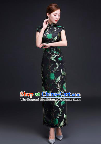 Chinese Traditional National Costume Classical Wedding Cheongsam Slim Black Qipao Dress for Women