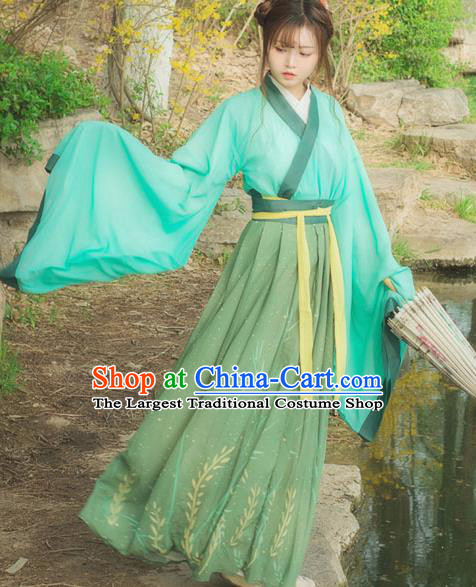 Chinese Ancient Young Lady Green Hanfu Dress Jin Dynasty Swordswoman Traditional Historical Costume for Women