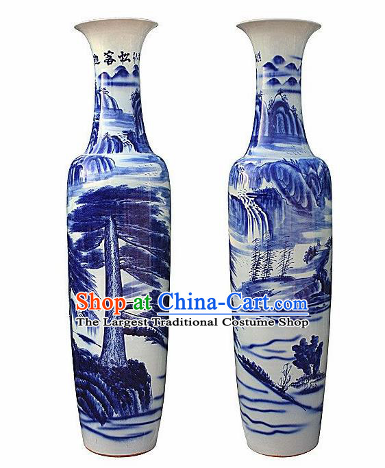 Chinese Jingdezhen Ceramic Handicraft Traditional Blue and White Porcelain Landscape Painting Vase