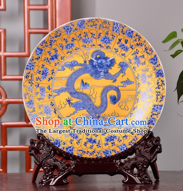 Chinese Traditional Hand Painting Dragon Decoration Enamel Dish Jingdezhen Ceramic Handicraft