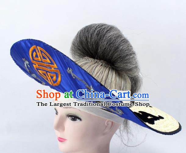 Chinese Ancient Fishermen Royalblue Hat Traditional Peking Opera Old Male Headwear for Men