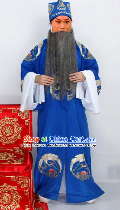 Chinese Ancient Ministry Councillor Embroidered Blue Robe Traditional Peking Opera Old Men Costume for Men
