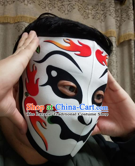 Chinese Traditional Sichuan Opera Face Changing Masks Handmade Painting White Facial Makeup