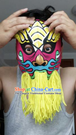 Chinese Traditional Sichuan Opera Prop Face Changing Yellow Tassel Masks Handmade Painting Facial Makeup