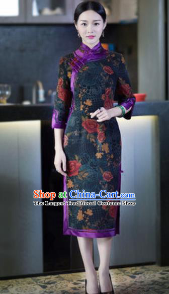 Chinese Traditional Tang Suit Atrovirens Silk Qipao Dress National Costume Cheongsam for Women