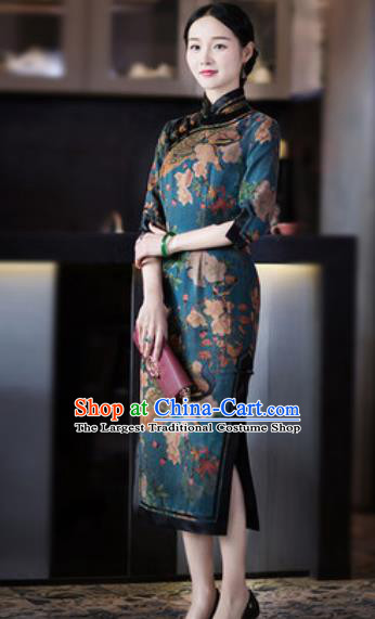 Chinese Traditional Tang Suit Silk Qipao Dress National Costume Printing Cheongsam for Women