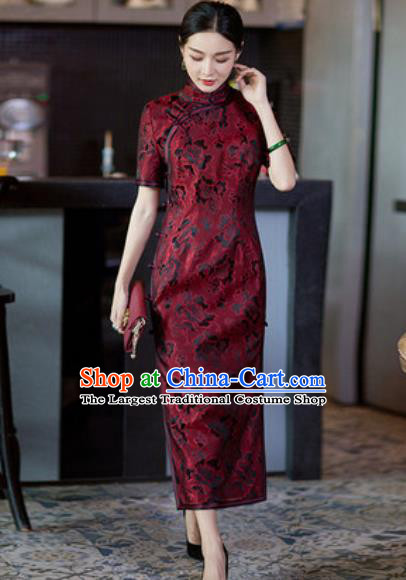 Chinese Traditional Tang Suit Qipao Dress National Costume Red Silk Cheongsam for Women