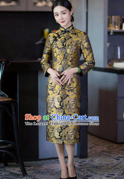 Chinese Traditional Tang Suit Qipao Dress National Costume Golden Silk Cheongsam for Women