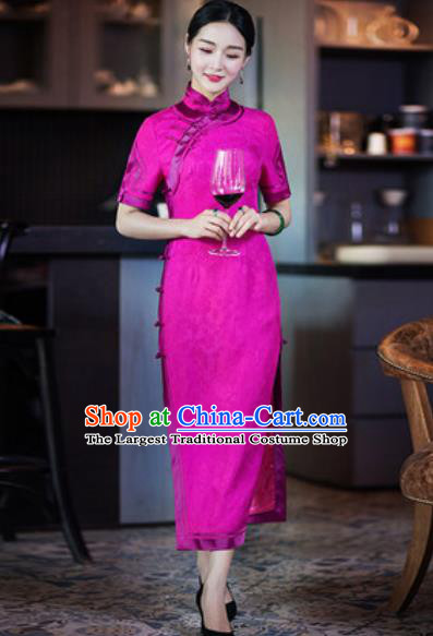 Chinese Traditional Rosy Silk Cheongsam Tang Suit Qipao Dress National Costume for Women