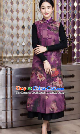 Chinese Traditional Tang Suit Qipao Purple Long Vest National Costume for Women