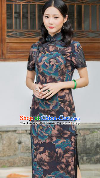 Chinese Traditional Printing Peony Navy Silk Cheongsam Tang Suit Qipao Dress National Costume for Women